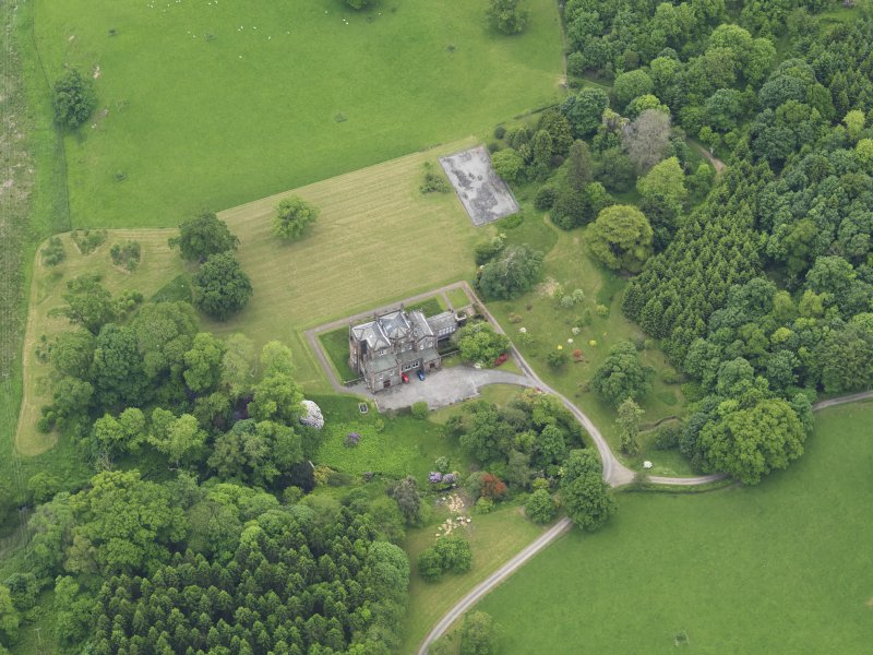 Oblique aerial view of Cumstoun House, taken from the NNE.
