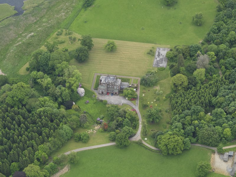 Oblique aerial view of Cumstoun House, taken from the NNW.