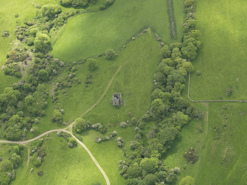General oblique aerial view of Plunton Castle, taken from the NNE.