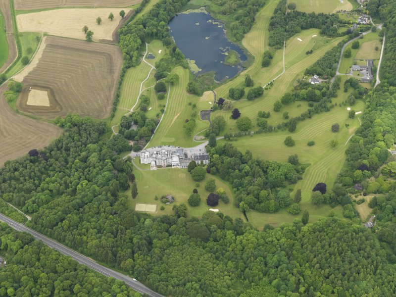 General oblique aerial view of Cally House and policies, taken from the S.