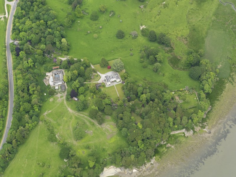 Oblique aerial view of Ardwall House and steading, taken from the SSW.