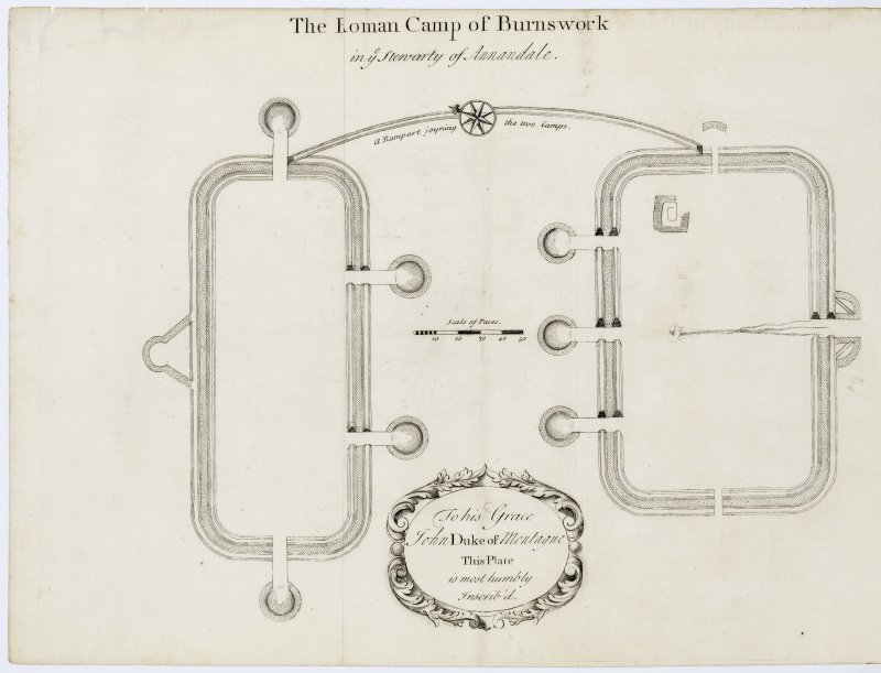 Plan of Burnswark Roman Fort and seige earthworks from Alexander Gordon's 'Itinerarium septentrionale'.