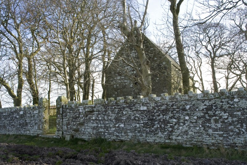 General view of Cruggleton Old Parish Church including entrance gate, taken from WSW