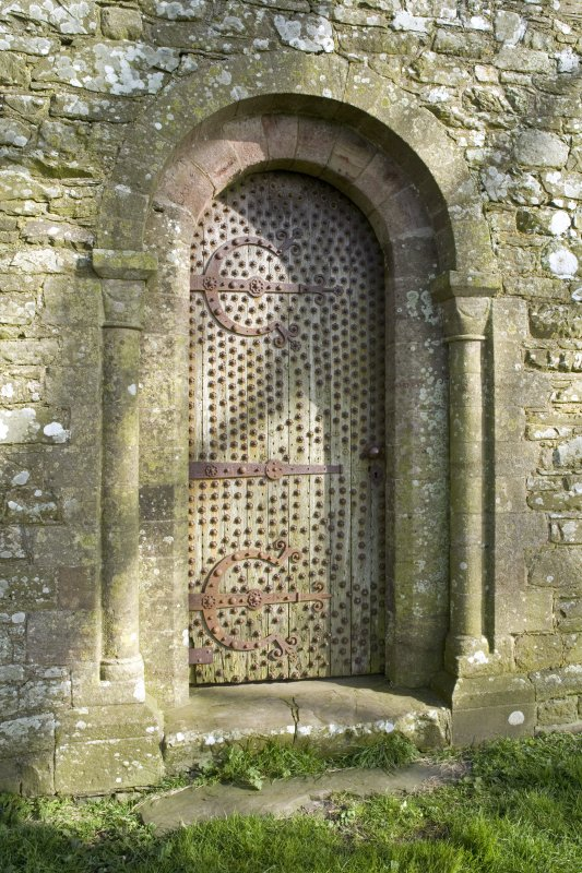 Detail of main doorway to Cruggleton Old Parish Church, at W end of S elevation.