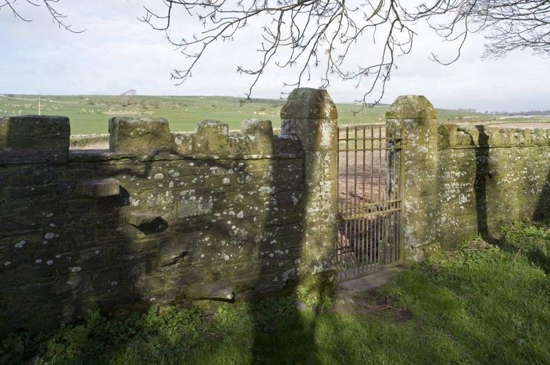 Detail of entrance gate and boundary wall at Cruggleton Old Parish Church, taken within churchyard