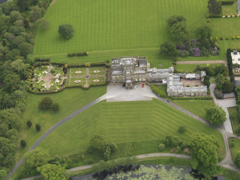 Oblique aerial view of Kinmount House and rose garden, taken from the N.