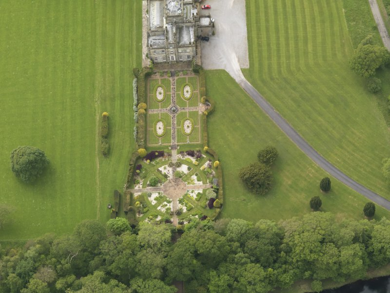 Oblique aerial view of Kinmount House rose garden, taken from the E.