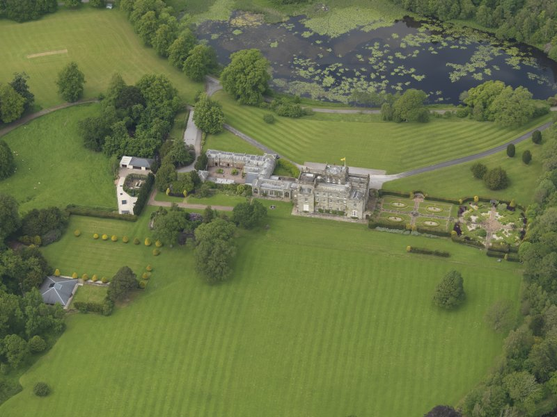 Oblique aerial view of Kinmount House and rose garden, taken from the SSE.