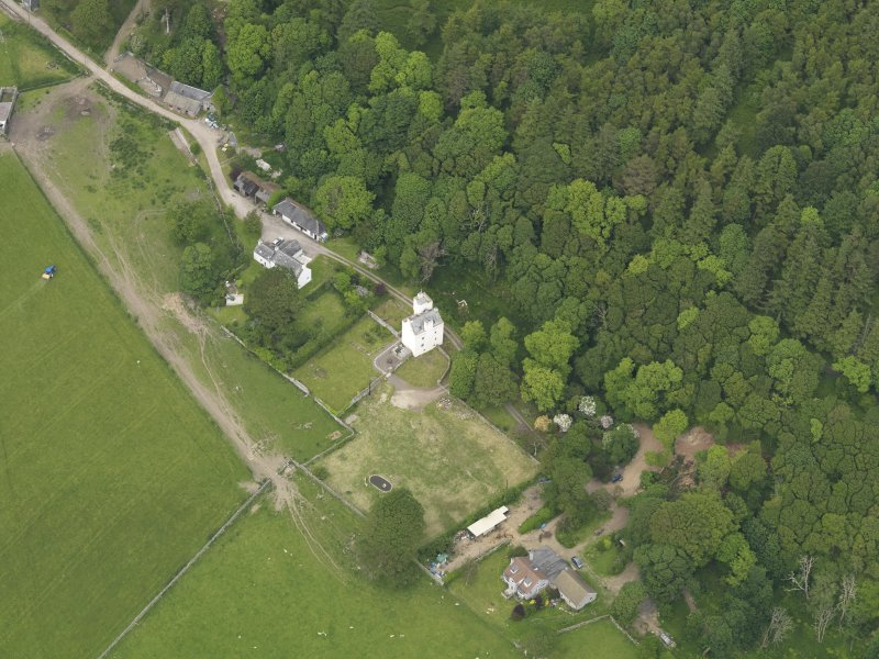 General oblique aerial view of Barholm Castle, taken from the SW.