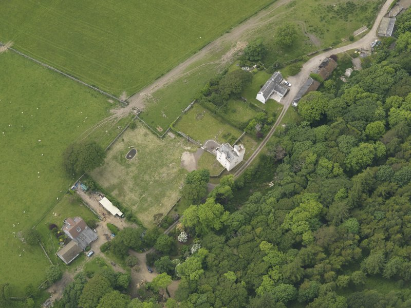 General oblique aerial view of Barholm Castle, taken from the ESE.