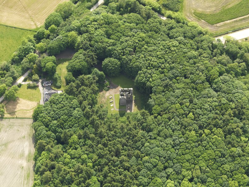 Oblique aerial view of Sorbie Tower, taken from the NE.