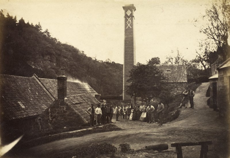 View of staff outside the Roslin Glen gunpowder mills c1863.