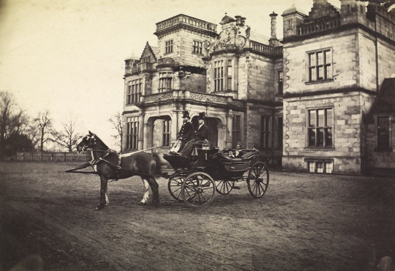View of a horse and carriage outside the front of Whitehill House, Rosewell.