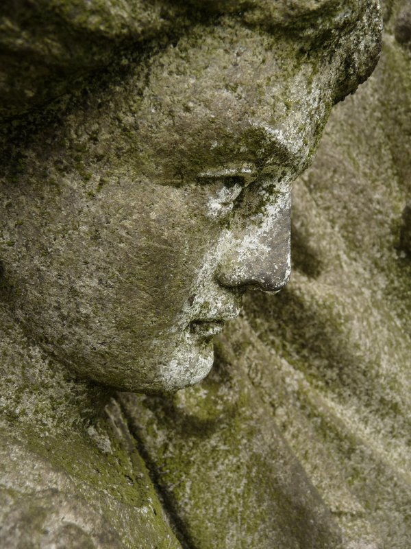 Detail of sculpture on monument in memory of David Outram (died 31rst October 1893). Located on the top of the main hill at Glasgow Necropolis.