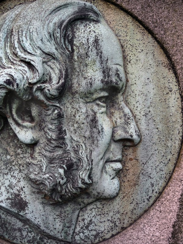 Detail of portrait sculpture on monument in memory of Duncan Turner. Located at Glasgow Necropolis.
