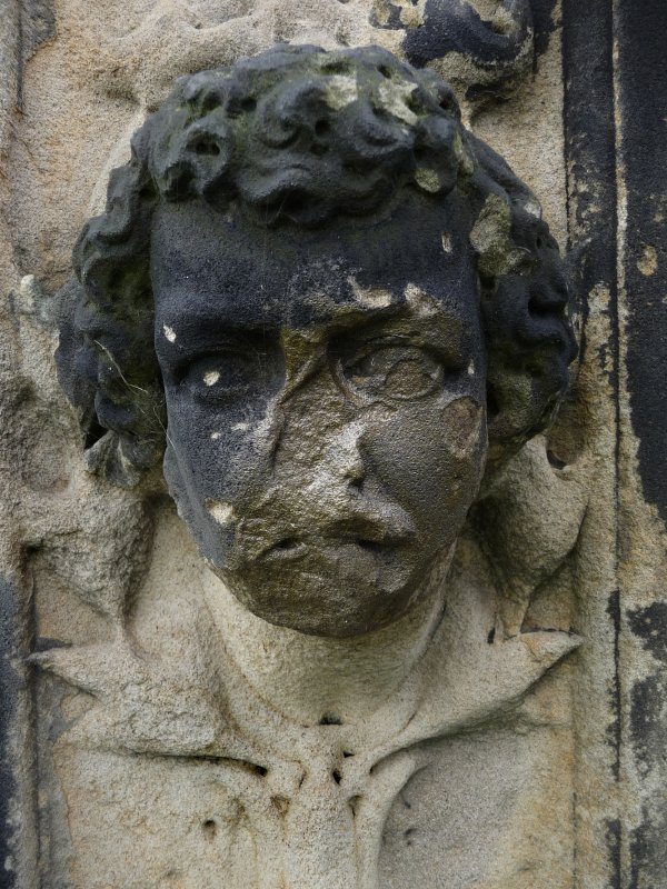 Detail of sculpture on monument in memory of James Sheridan Knowles (died 30th November 1862). Located at the Glasgow Necropolis.