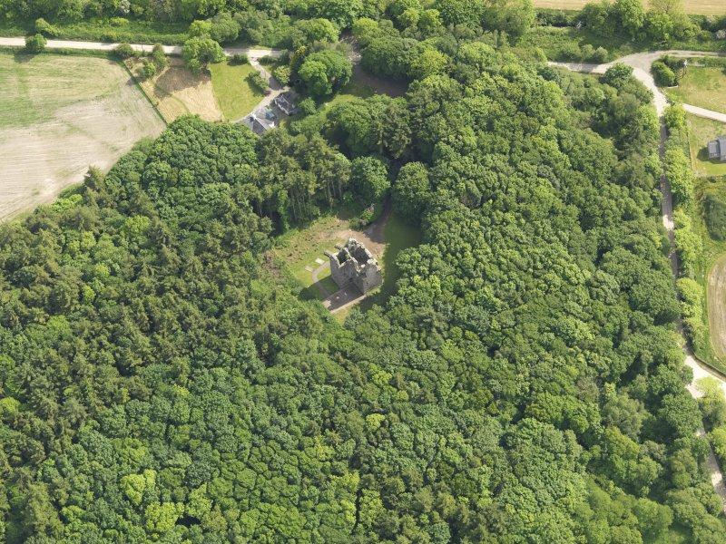 Oblique aerial view of Sorbie Tower, taken from the N.