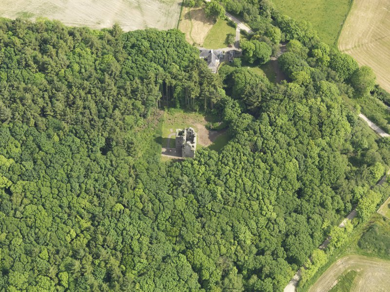 Oblique aerial view of Sorbie Tower, taken from the NW.