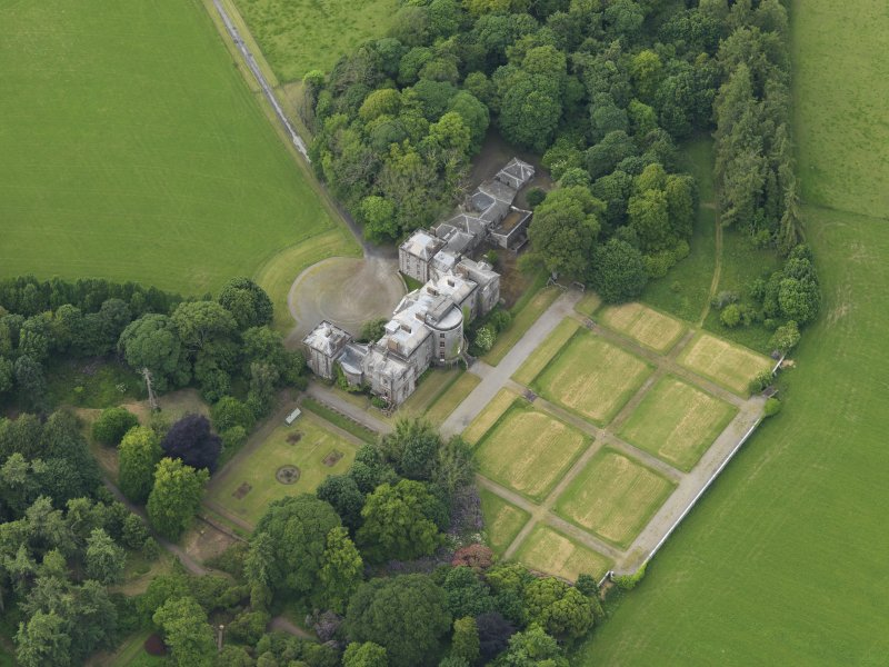 Oblique aerial view of Galloway House and formal garden, taken from the SE.