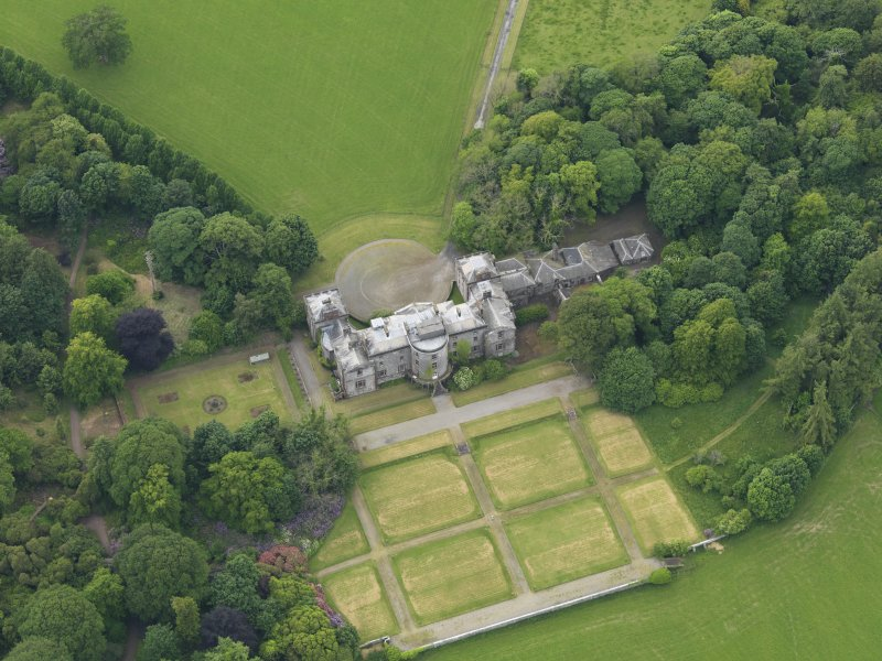 Oblique aerial view of Galloway House and formal garden, taken from the ESE.