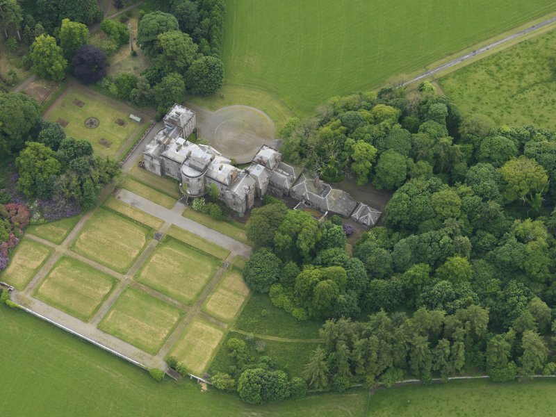 Oblique aerial view of Galloway House and formal garden, taken from the ENE.