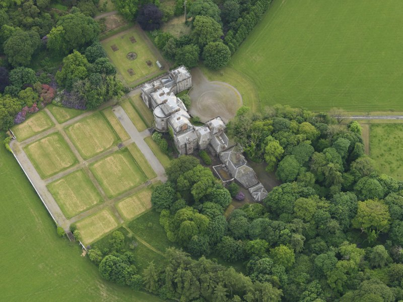 Oblique aerial view of Galloway House and formal garden, taken from the NE.