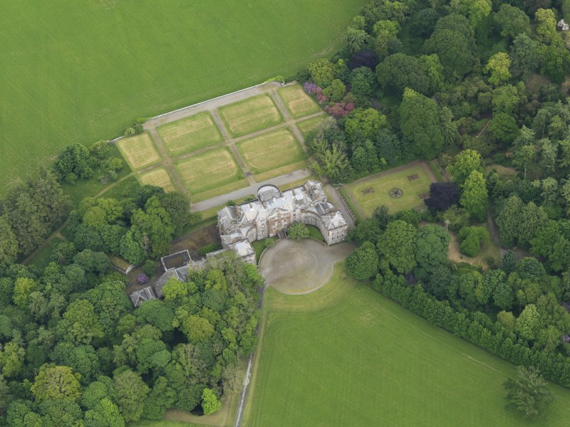 Oblique aerial view of Galloway House and formal garden, taken from the WNW.