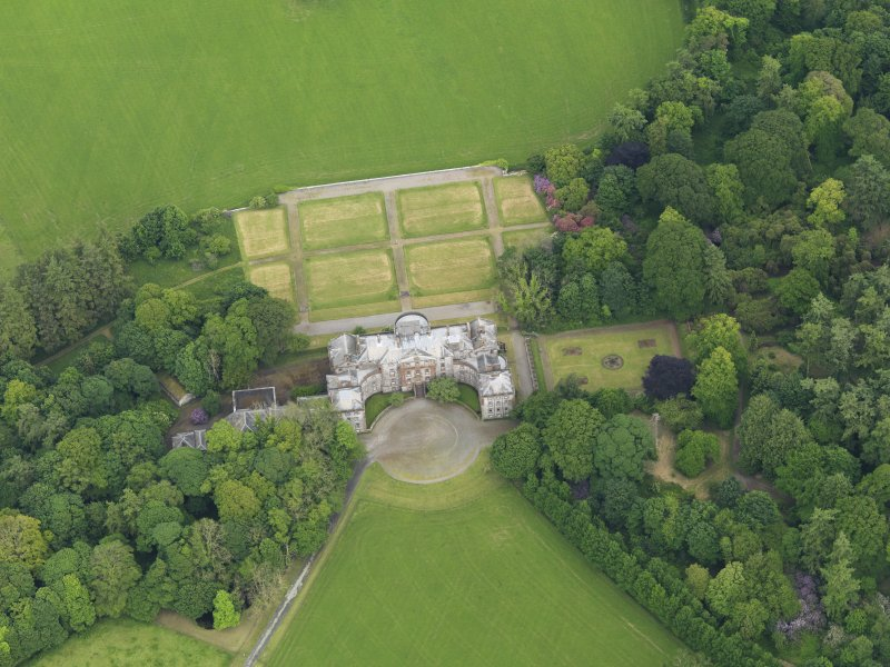 Oblique aerial view of Galloway House and formal garden, taken from the W.