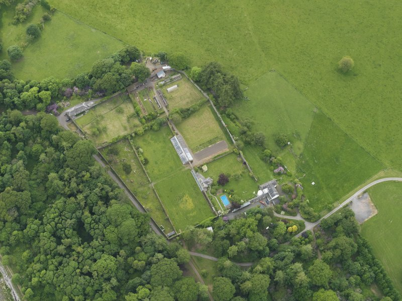 Oblique aerial view of Galloway House walled garden, taken from the E.