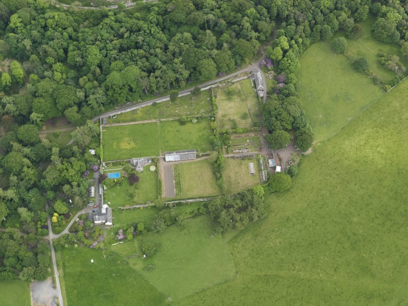 Oblique aerial view of Galloway House walled garden, taken from the NW.