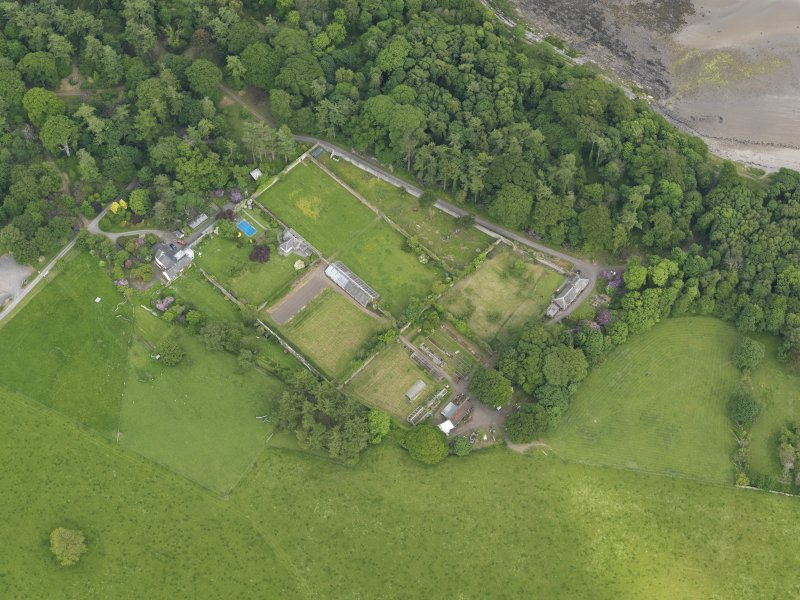 Oblique aerial view of Galloway House walled garden, taken from the W.