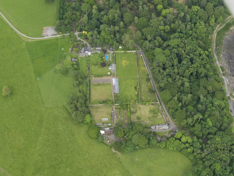 Oblique aerial view of Galloway House walled garden, taken from the SW.