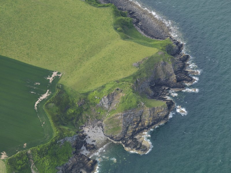 Oblique aerial view of Cruggleton Castle, taken from the S.