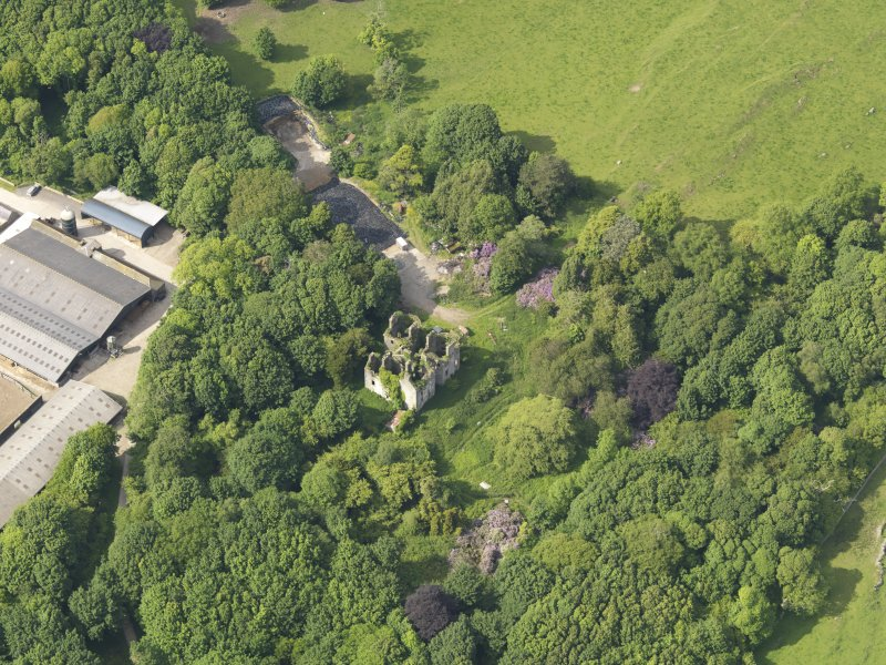 Oblique aerial view of Castlewigg country house, taken from the S.