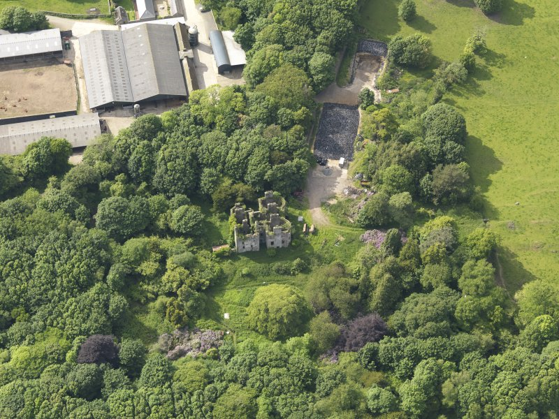 Oblique aerial view of Castlewigg country house, taken from the SE.