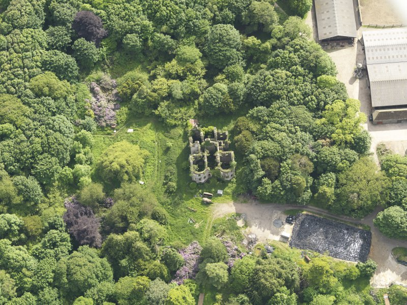 Oblique aerial view of Castlewigg country house, taken from the NNE.