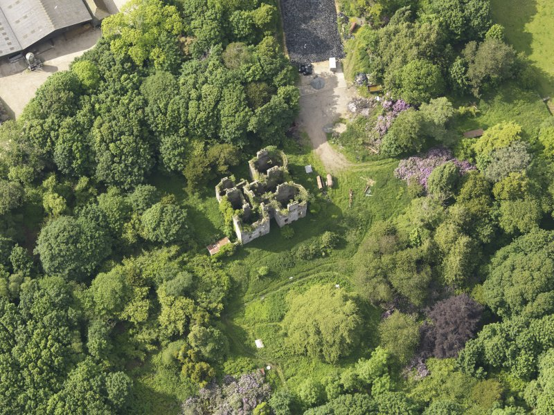 Oblique aerial view of Castlewigg country house, taken from the SSE.
