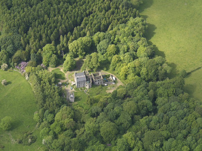 Oblique aerial view of Ravenstone Castle, taken from the S.