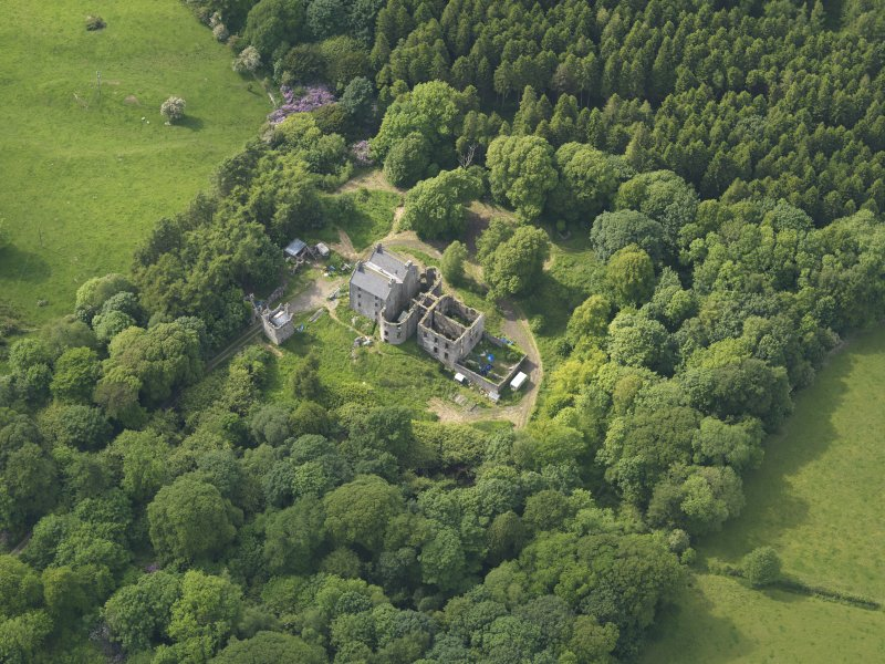 Oblique aerial view of Ravenstone Castle, taken from the SE.