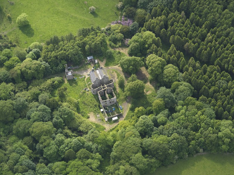 Oblique aerial view of Ravenstone Castle, taken from the E.