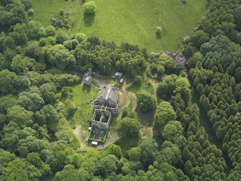 Oblique aerial view of Ravenstone Castle, taken from the ENE.