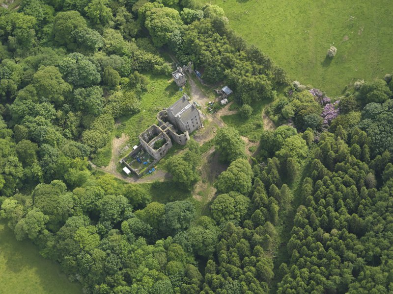 Oblique aerial view of Ravenstone Castle, taken from the NNE.