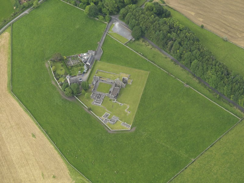 Oblique aerial view of Glenluce Abbey, taken from the S.
