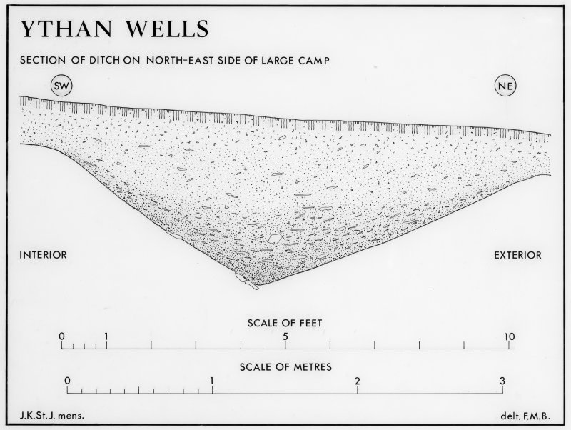 Ythan Wells Roman temporary camps. Section of ditch on NE side of large camp.