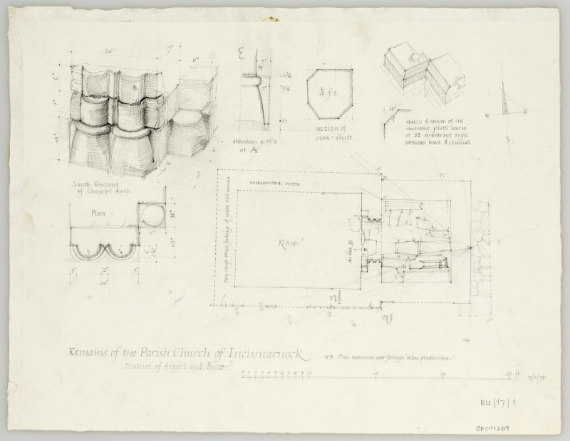 Survey drawing; plan of chapel with details of nook-shaft, south respond and plinth