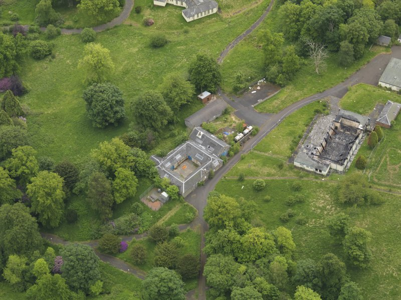 Oblique aerial view of Birkwood House and policies, taken from the WNW.