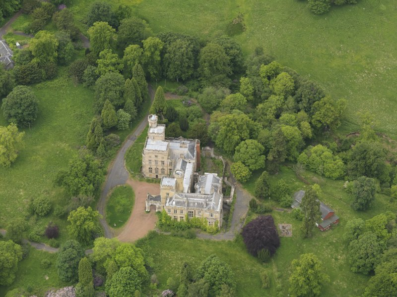 Oblique aerial view of Birkwood House and policies, taken from the E.