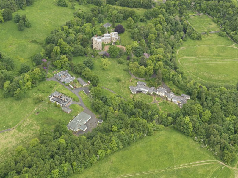 Oblique aerial view of Birkwood House and policies, taken from the SW.