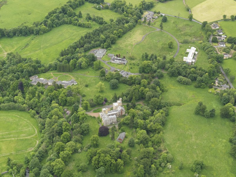 Oblique aerial view of Birkwood House and policies, taken from the NE.