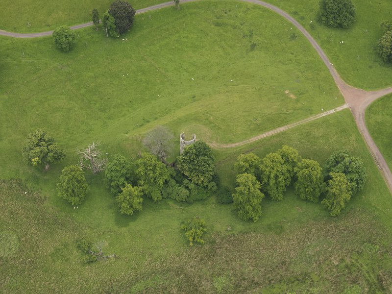Oblique aerial view of Douglas Castle, taken from the NNW.